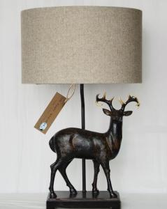 Stag lamp. Herringbone Beige wool shade.