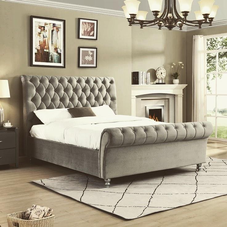 Kinsale Tile Store Velvet Sleigh Bedframe
